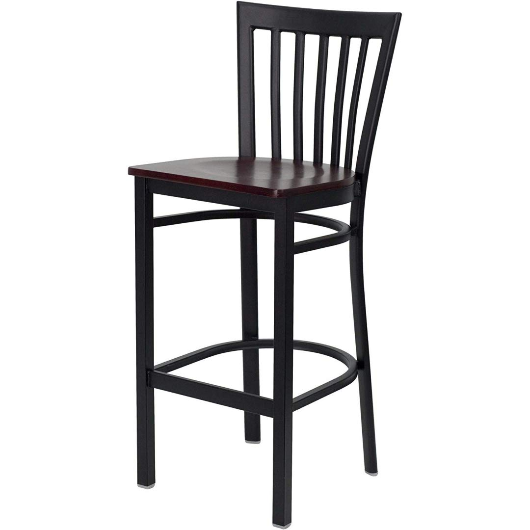 Modern Style Dining Bar Stools Pub Lounge Diner Restaurant Commercial Seats Vertical School House Back Design Black Powder Coated Frame Finish Home Office Furniture - (1) Mahogany Wood Seat #2232