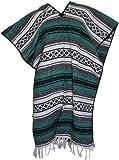 Del Mex Classic Mexican Blanket Poncho, Green