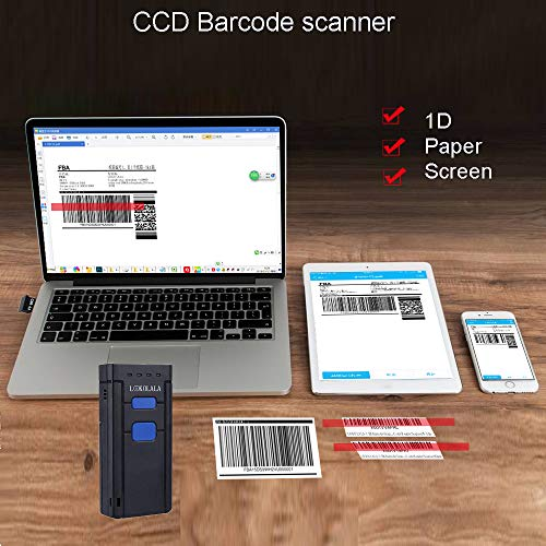 LOKOLALA Mini Portable Bluetooth Barcode Scanner CCD Wireless Bluetooth  Barcode Reader for 1D Paper and Screen Barcode Pair with Computers Laptop