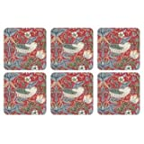 PIMPERNEL Strawberry Thief Red Coasters square set of 6