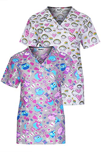 MedPro Women's Printed Mock Wrap Medical Scrub Top Multi Pack ASTD:Grey,White M ()
