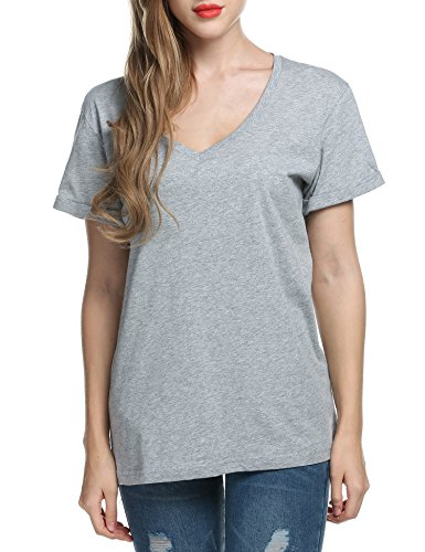 TINYHI Christian Women's Fitted Linen V-Neck Short Work Sleeve T-Shirts Tops Cap Gray,S