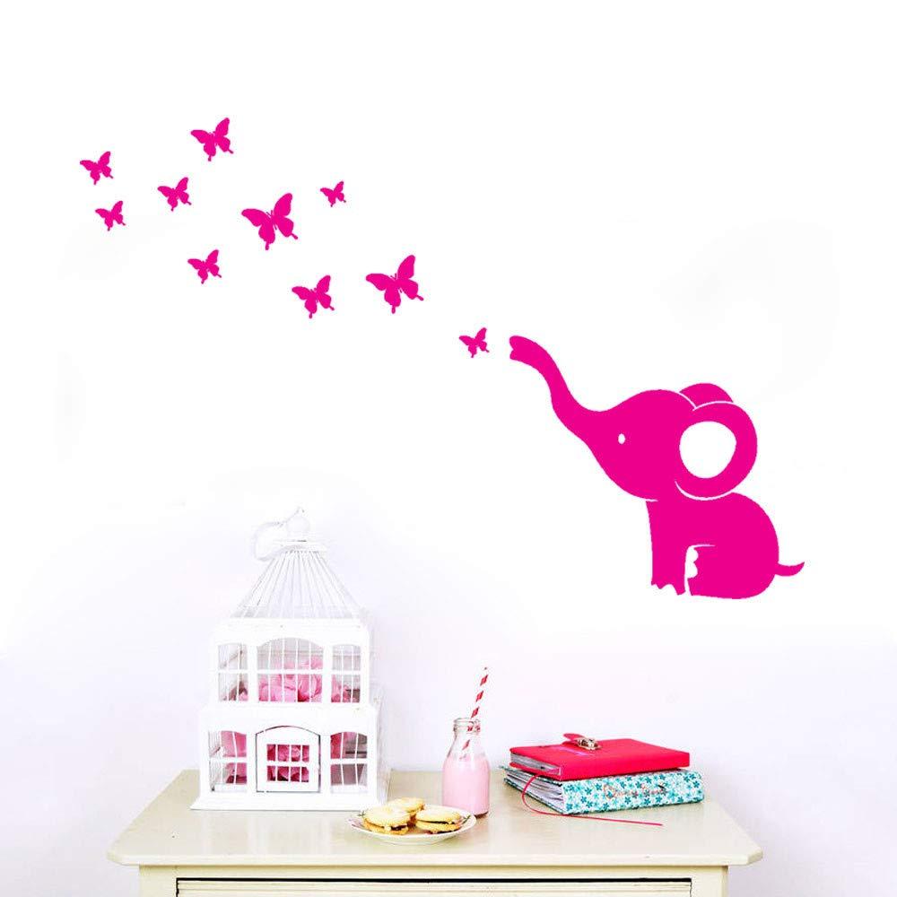 Kimloog Cute Elephant Butterflies DIY Wall Sticker Baby Room Nursery Decor Mural Decal (Hot Pink)