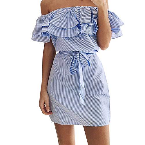 (Adeliber Women's Dress Summer Sexy Strapless Striped Shoulder Strap Ruffled Dress Party Dress Blue)