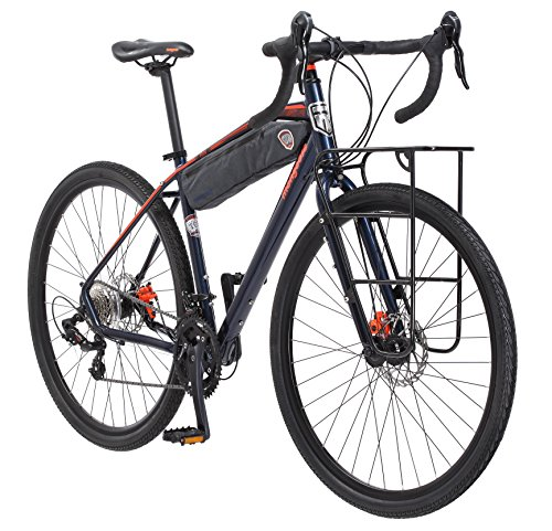 Mongoose Men's Elroy Adventure Bike 700C Wheel Bicycle, Blue, 54cm frame size