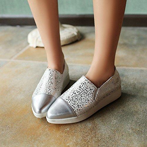 Summerwhisper Mujeres Comfy Imprimir Con Punta Del Dedo Elástico Low Top Mocasines Slip On Sneakers Blanco