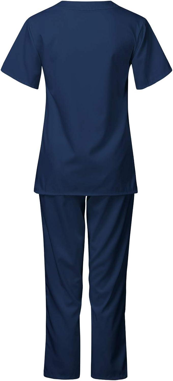 Workwear Men Short Sleeve V-Neck Tops+Trousers Nursing Working Uniform Set Suit Smony Womens Healthcare Tunic Uniform Medical Doctors Unisex 2 Pocket Top Hospital Workwear
