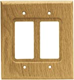 Brainerd 64654 Wood Square Double Decorator Wall Plate / Switch Plate / Cover, Medium Oak