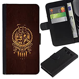 ZCell / Samsung Galaxy S3 III I9300 / Golden Samurai Sun Symbol Brown / Caso Shell Armor Funda Case Cover Wallet / Oro Samurai Sol símbolo