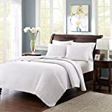 Madison Park Keaton Full/Queen Size Quilt Bedding Set - White, Quilted – 3 Piece Bedding Quilt Coverlets – Ultra Soft Microfiber Bed Quilts Quilted Coverlet