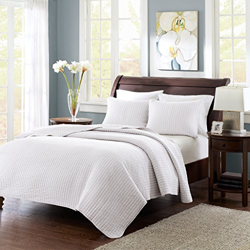 Madison Park Keaton Twin/Twin Xl Size Quilt Bedding Set - White, Quilted – 2 Piece Bedding Quilt Coverlets – Ultra Soft Microfiber Bed Quilts Quilted Coverlet - Madison Twin Comforter