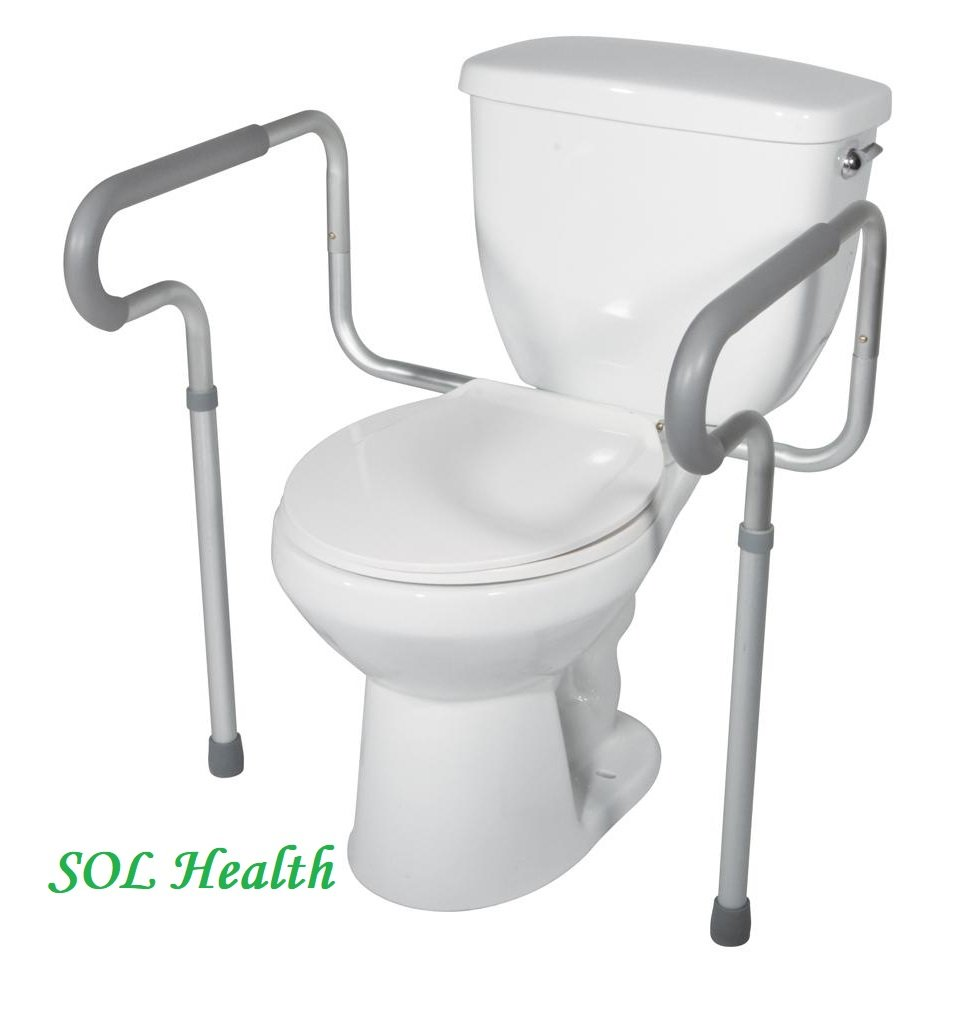 SOL Health Toilet Support Rail Frame Grab Bars | Adjustable Handicap Assist Elderly Disabled Bathroom