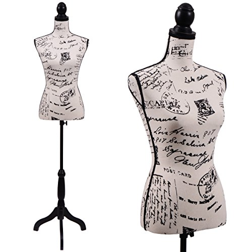 Female Postage print vintage-style fabric Mannequin Dress Form (On Black Tripod Stand) (Vintage Print Fabrics)