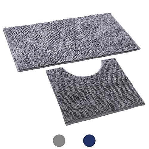 Noahas 2 Piece Shag Bathroom Rugs Set, Soft Non Slip Plush Bath Mat and U-Shaped Toilet Mat Super Water Absorbent Machine-Washable Chenille Bath Rug for Toilet, 20