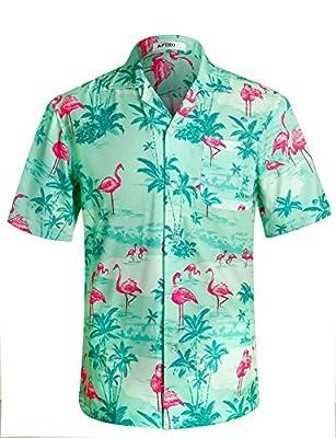 Men's Hawaiian Shirt Crane Pattern Short Sleeve Aloha Shirts