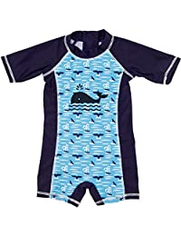 ThreeH Infant Baby Boys Rashguard Swimsuit One Piece Sun Protective Swimwear BM06