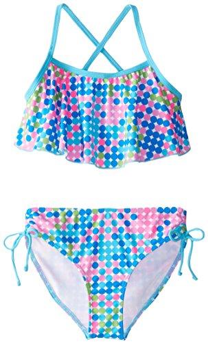 Kanu Surf Big Girls' Karlie Flounce Bikini Beach Sport 2-Piece Swimsuit, Nikki Blue Dot, 14 -