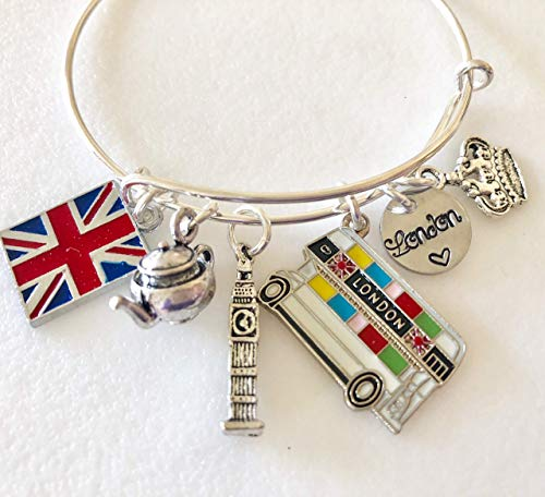 London Charm Bracelet, Union Jack, Double Decker Bus, Big Ben, Tea Charms, Love London, Adjustable Silver Bangle. ()