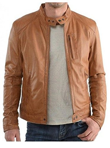 Western Leather Men's Motorcycle Leather Jacket Medium Brown