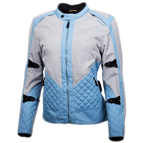 ScorpionExo Dominion Women's Textile Adventure Touring Motorcycle Jacket (Grey/Blue, Medium)