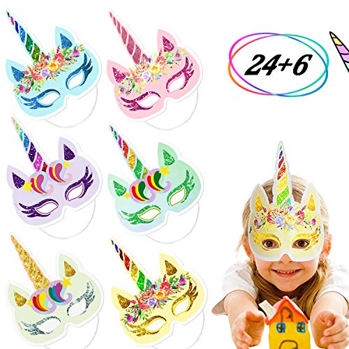 (24 PCS Rainbow Unicorn Paper Masks Kids Birthday Party Photo Props Favors with 6PCS Thank You)