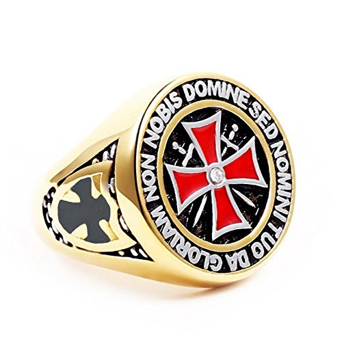 A.Yupha Fashion Men's Jewelry Punk Red Knights Templar Black Cross Zircon Punk Rings#Gold (15) (Bridal Knight)