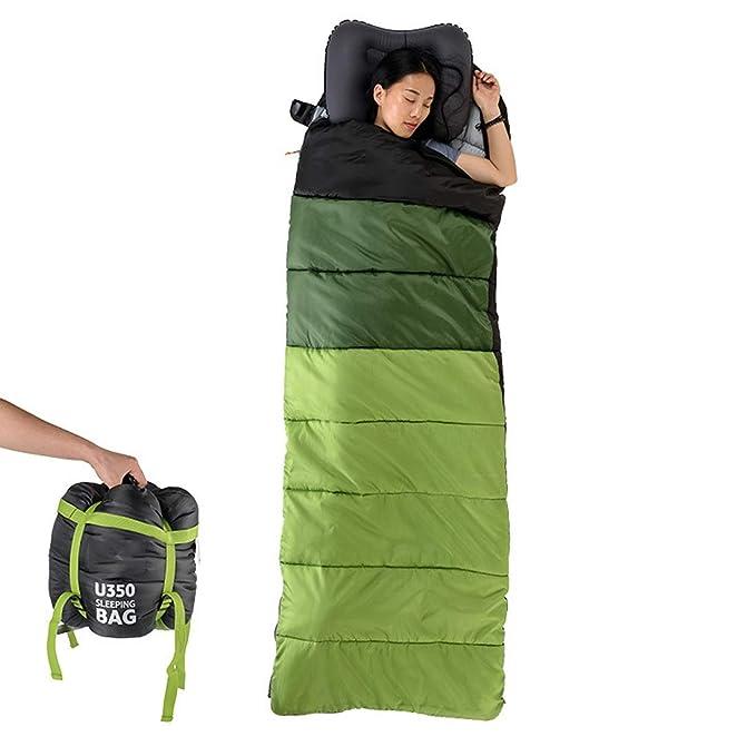 UICICI Saco de Dormir Ultra liviano, frío, cálido, sobre con Gorro Saco de Dormir de algodón Saco de Dormir portátil y Transpirable, Adecuado para Acampar ...