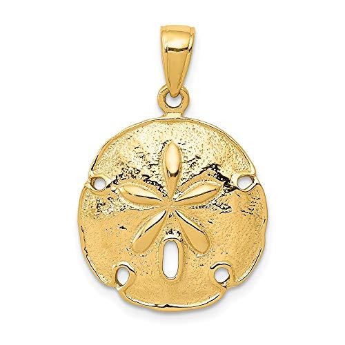 (Jewel Tie 14K Yellow Gold Sand Dollar Pendant - (1.02 in x 0.71 in))