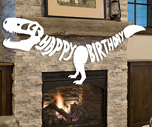 Giant Dinosaur Birthday Banner Dino Party Supplies Garland - T-REX Bones Fossil Jurassic Decoration (6.6ft)