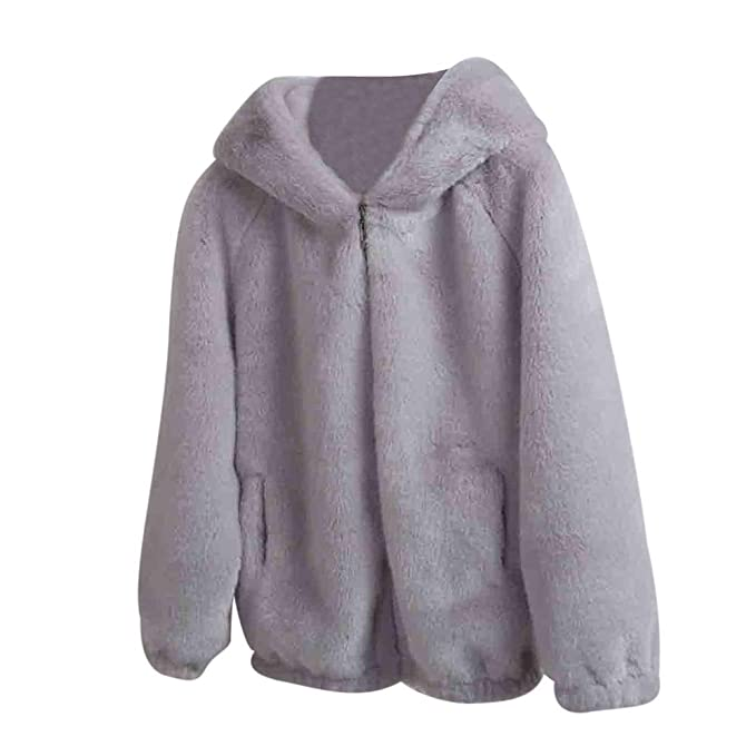 Womens Fluffy Hooded Sweatshirts Coat ESAILQ Ladies Winter Warm Faux Fleece Pullover Hoodies Outerwear Plus Size Solid Loose Casual Hoody with Pocket