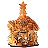 Holy Land Market Musical olive wood Nativity carved by Laser with Incense from Jerusalem (20 cm or 8 inches)
