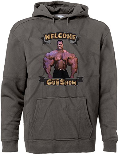 BSW Men's Welcome to The Gun Show Muscle Arms Premium Hoodie LRG Charcoal