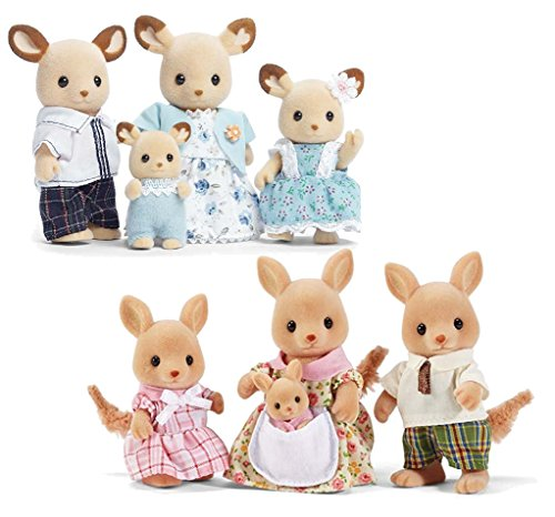 Calico Critters Buckley Deer Family with Hopper Kangaroo Family
