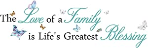 Living Room Inspirational Quotes Wall Sticker The Love of a Family is Life's Greatest Blessing Wall Decal Sticker for Bedroom Family Decor Sign Quote Vinyl Wall Art Decor (37''×13'')