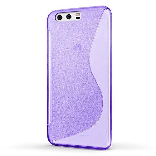 Funda Huawei P10, SLEO Slim Fit TPU Carcasa de Parachoques Case Traslúcido Suave con Absorción de Impactos y Resistente a los Arañazos para Huawei P10 - Negro Púrpura