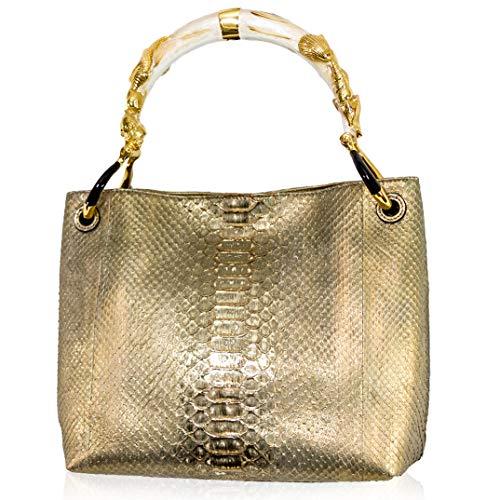 Silvano Biagini Italian Designer Citrine Metallic Genuine Python Leather Bag w/Seashell Handle