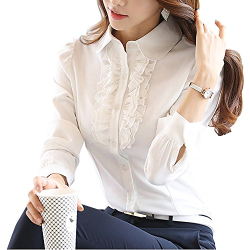 7ec3d4745d Y&Z Women's Shirts Lotus Ruffle Vintage Long Sleeve BS15 · related-product.  Betusline Women's Elegant Long Sleeve Ruffle Collar OL Tops Blouse T Shirt