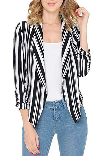 Auliné Collection Womens Stripe Casual Lightweight 3/4 Sleeve Fitted Open Blazer Black White Stripe Small Black & White Blazer