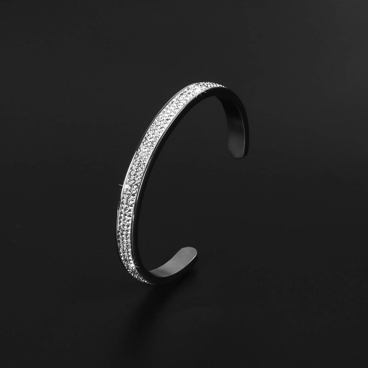 NewChiChi Stainless Steel Grooved Cuff Bangle High Polished Jewelry Bracelet for Women