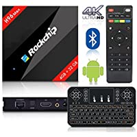 2017 Latest BPSMedia H96 MAX / 4GB-32GB Android 7.1 Bluetooth TV Box Rockchip Hexa Core and Supporting 4K (60Hz) Full HD /H.265 /WiFi 2.4GHz - WITH FREE WIRELESS KEYBOARD …