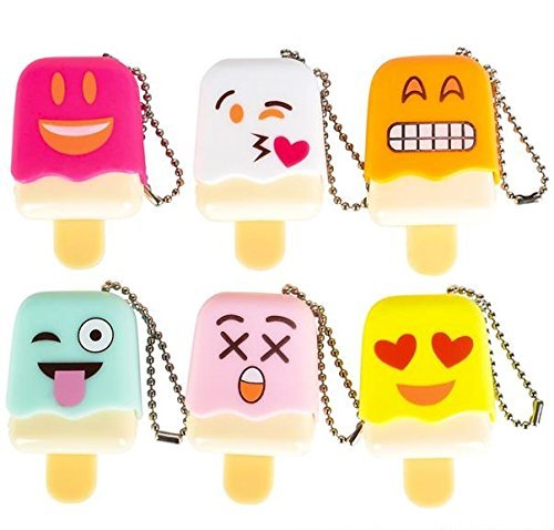 Great Stocking stuffer By Blue Green Novelty 1 Dozen Of Emoji Face Emoticon Ice Pop Lip Gloss Keychain Birthday Party Favors