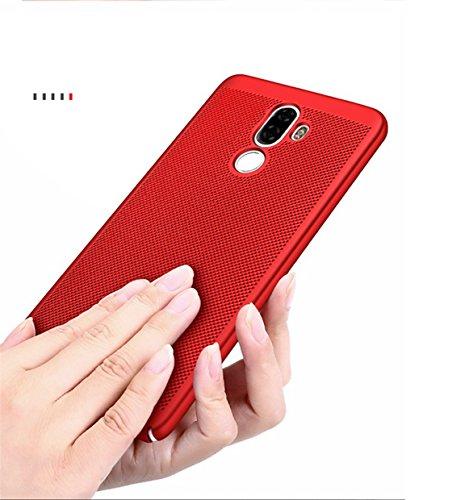 Funda Xiaomi Mi 5S Plus,Alta Calidad Ultra Slim Anti-Rasguño y Resistente Huellas Dactilares Totalmente Protectora Caso de Plástico Duro Case,Cuadrícula Disipación de calor Antideslizante Cover B