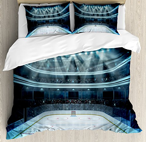 Ambesonne Hockey Duvet Cover Set, Photo of a Sports Arena Full of People Fans Audience Tournament Championship Match, Decorative 3 Piece Bedding Set with 2 Pillow Shams, Queen Size, Dark Blue (Full Hockey Comforter)