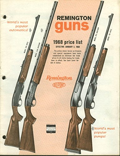 Remington Guns Catalog Price List 1968 rifle shotgun pistol