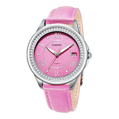 Pink Watch Leather (COMTEX Women's Analog Quartz White/Pink/Green Leather Band Wrist Watch with Date and Waterproof Feature … (Pink+White))