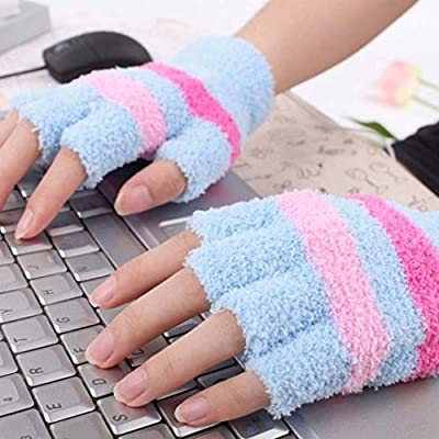 Livoty USB Heating Winter Gloves Women Hand Warm Gloves Heated Fingerless Warmer Mitten (Blue)