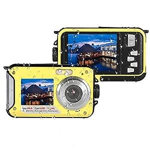 Underwater Camera Full Hd 1080P Waterproof Digital Camera 24.0MP Underwater Digital Camera Dual Screen Point and Shoot Waterproof Camera (E1)