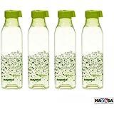 Nayasa Pet Fridge Square Bottle 1000ml Dlx, 4 Pcs Set Green