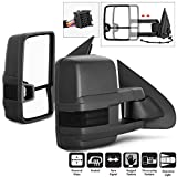 For 14-16 Chevy Siverado Smoke Extendable Towing Power Heated Function Side Mirrors Left + Right Pair