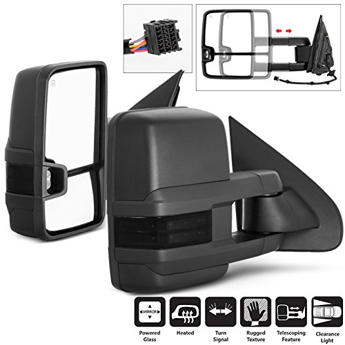 - For 14-16 Chevy Siverado Smoke Extendable Towing Power Heated Function Side Mirrors Left + Right Pair